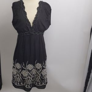 Max Studio black cotton embroidered sundress-sz L